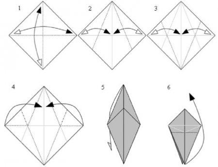 Покрокова складання за схемою динозавра орігамі